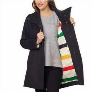 Pendleton classic striped lining grey wool coat